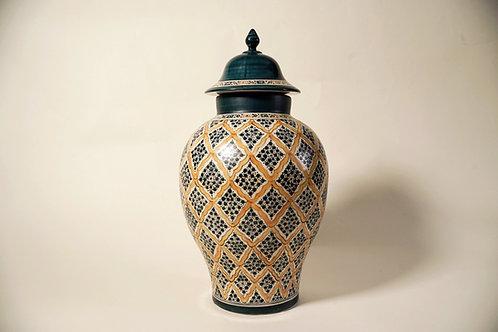 "Decorative Jar 15""  Blue & Yellow"