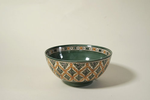 """Small Serving Bowl   7½"""" Green & Yellow"""