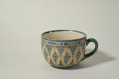 "Large Ceramic Mug  5""  Green & Yellow"