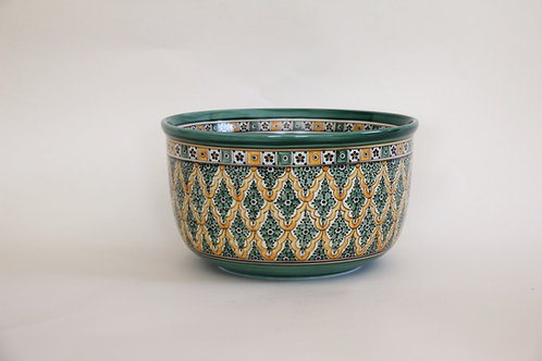 "Ceramic Celebration Bowl  10¼""  Green & Yellow"