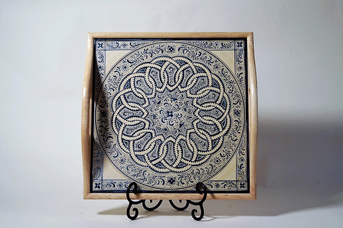 Square Wood Tray with hand-painted tile