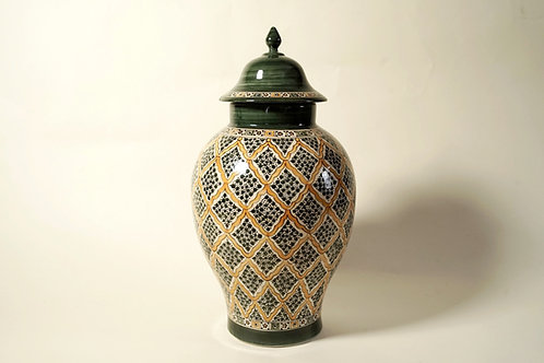 "Decorative Jar 15""  Green & Yellow"