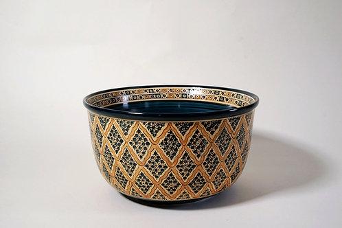 "Ceramic Celebration Bowl  10¼""  Blue  & Yellow"