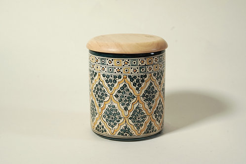 """Ceramic Jar with Wooden Top 5¼""""  Green & Yellow"""