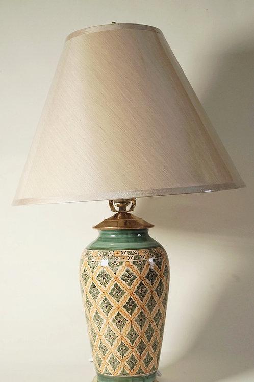 "Lamp Base 11"" Green & Yellow"