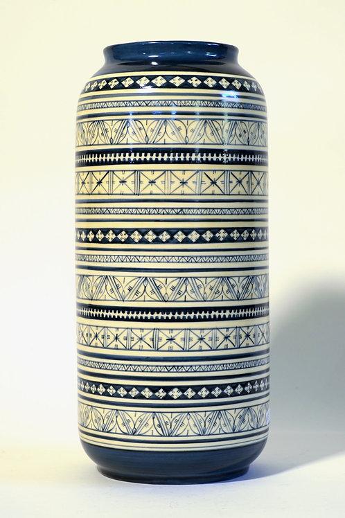"Tall Vase  - Blue Marli & Cream  12"""