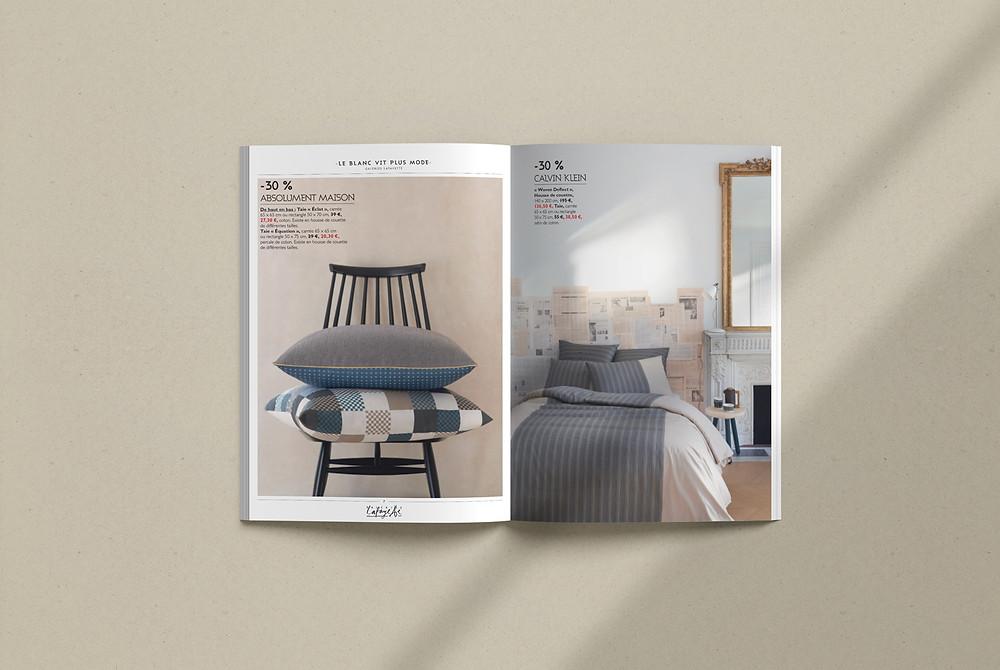 Page de magazine présentant du linge de maison