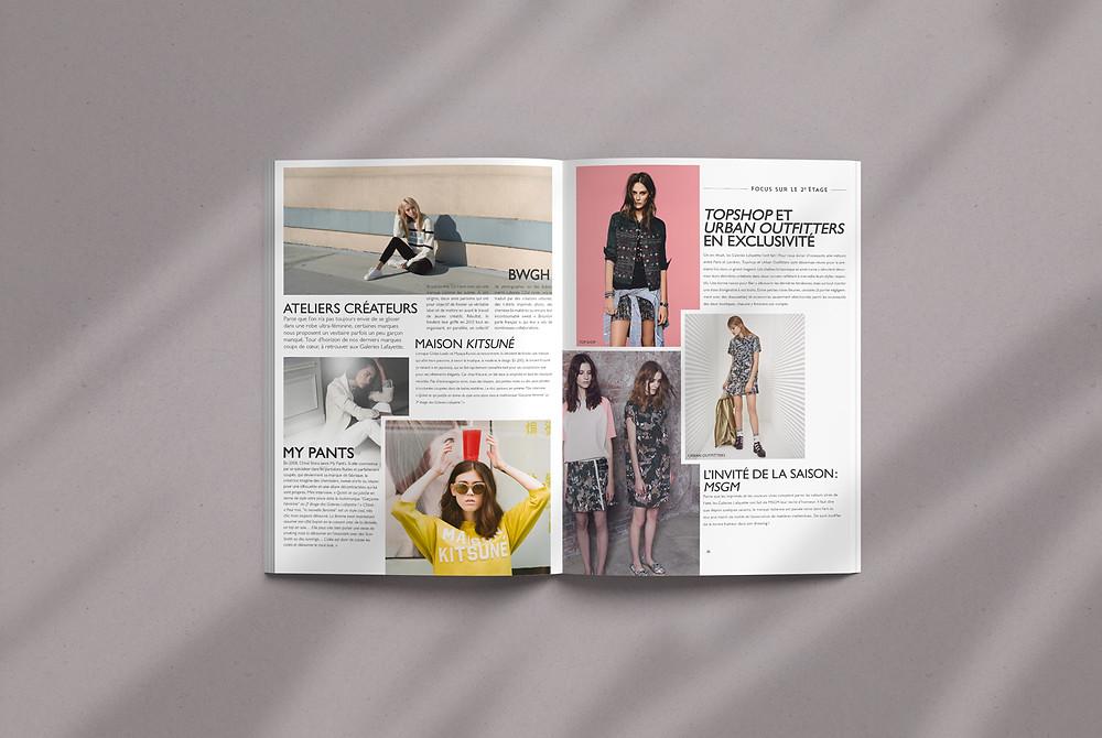 Page de magazine présentant des marques