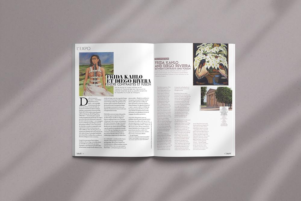 Page de magazine présentant une exposition sur Frida Kahlo