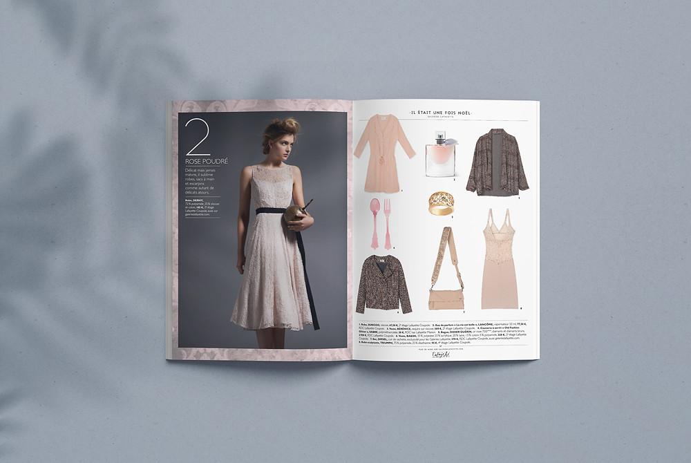 Page de magazine présentant des vêtements