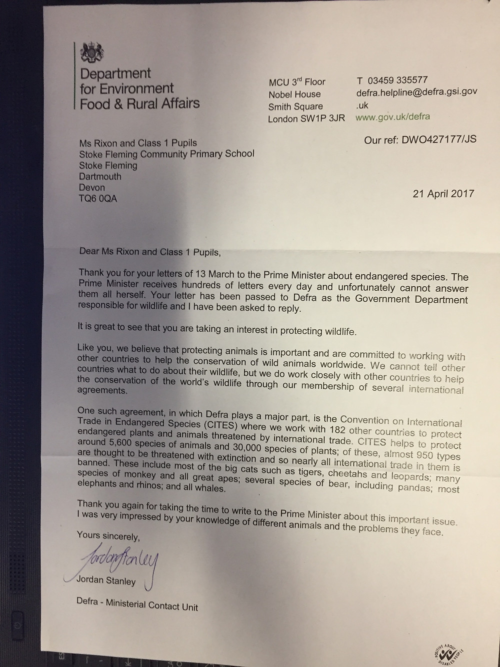 In addition to the letter from Downing Street Discovery Class have also received a letter from The Department for Environment Food and Rural Afairs in response to their letters about protecting wildlife.