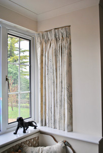 Pencil pleated curtains for bay window