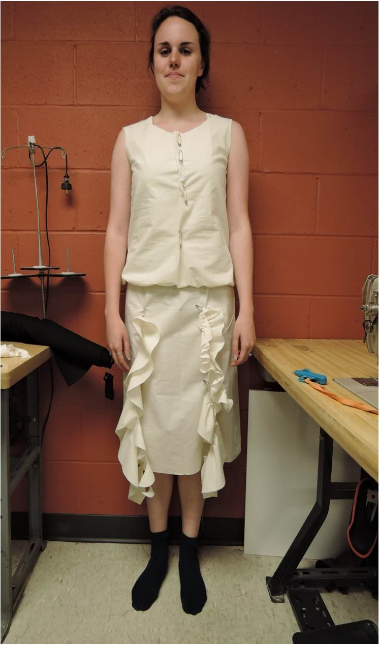 Muslin mock-up for Viola's dress