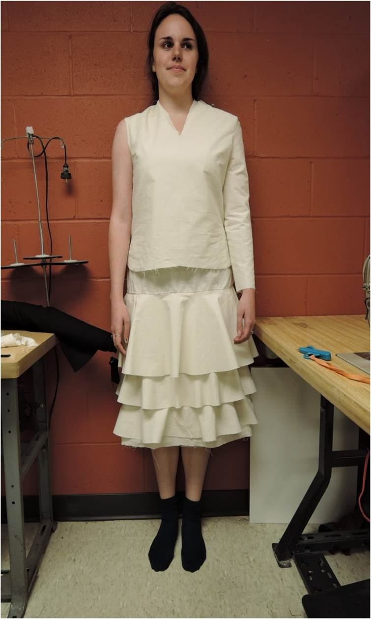 Muslin mock-up of mourning dress