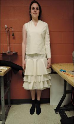Muslin mock-up of mourning dress