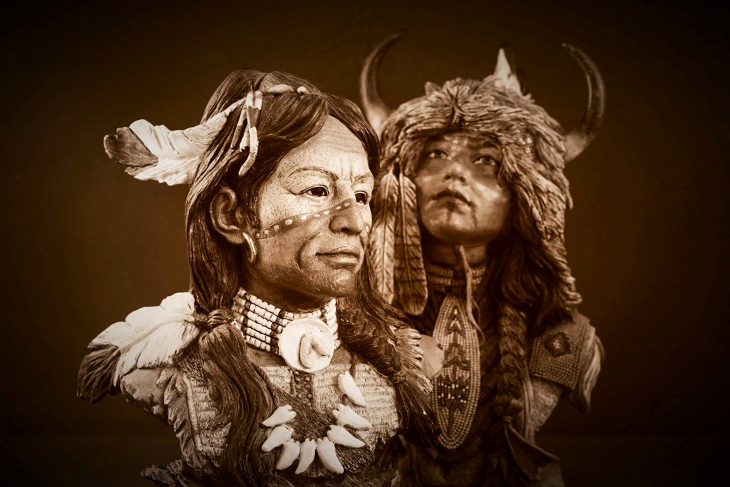 Two Native American Indian busts