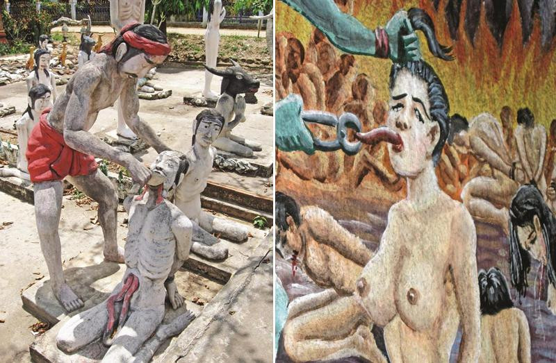 Alcoholic soul being fed boiling liquids, Wat Thawet - Tortures in Narok; Mural detail, Mae Sot
