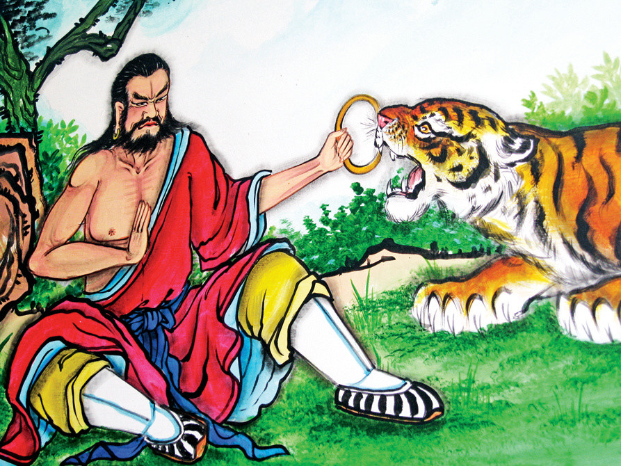 Mural of Chinese man and tiger, Pung Tao Gong Ancestral Temple, Chiang Mai