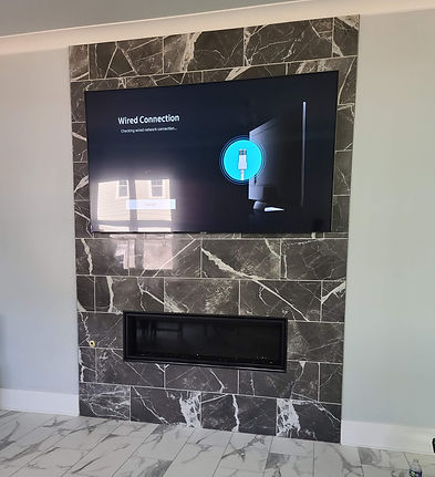 TV wall mount on marble