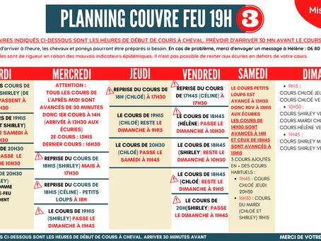 Nouveau planning couvre feu à 19h
