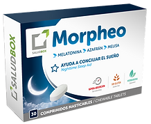 To Saludbox Morpheoείναι συμπλήρωμα διατροφής,σε μορφή υπογλώσσιωνδισκίων, με βάση τη μελατονίνη που συμβάλλει στη μείωση της αϋπνίας.