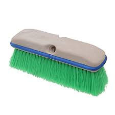 "10"" Square Truck Wash Brush - Green Nylon"