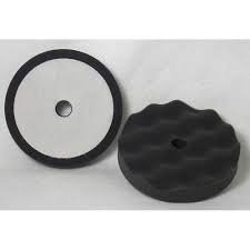 "6"" Final Finish Black Velcro Waffle Foam Pad (2 pk)"