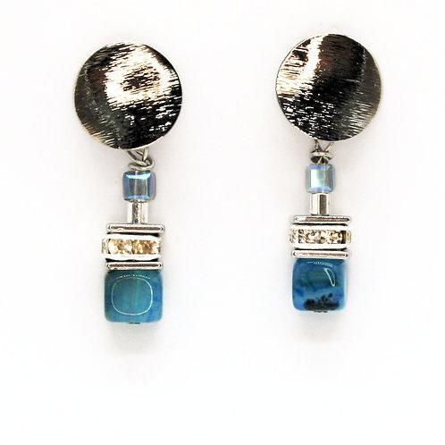 Øreringe med agater og krystaller