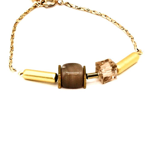 Guld armbånd med agat