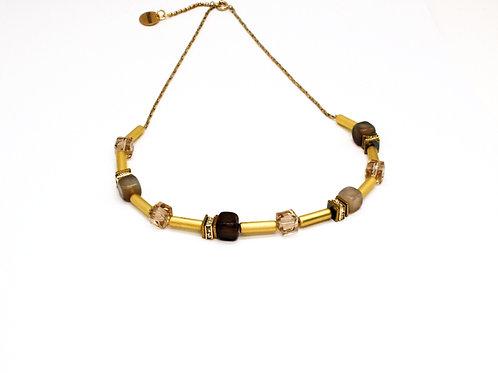 Guld halskæde med agater