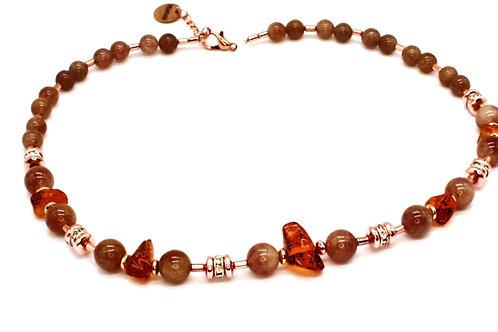 Rav halskæde med agater