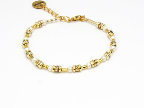 Guld armbånd med perler