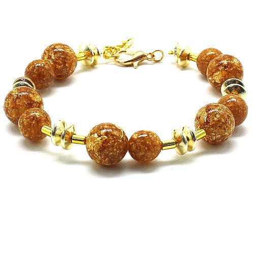 Armbånd guld resin perler