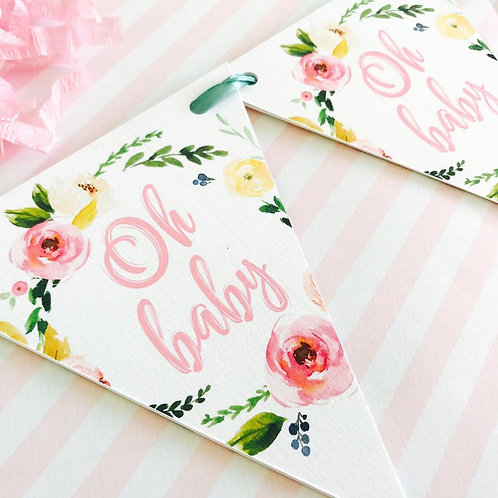 Floral Baby Shower Party Bunting