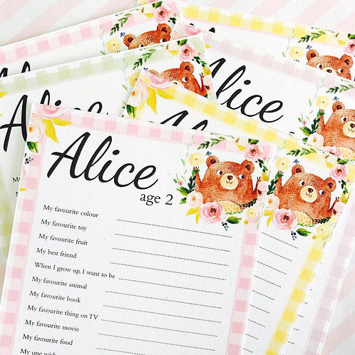 Teddy Bear's Picnic Question Cards (girl)
