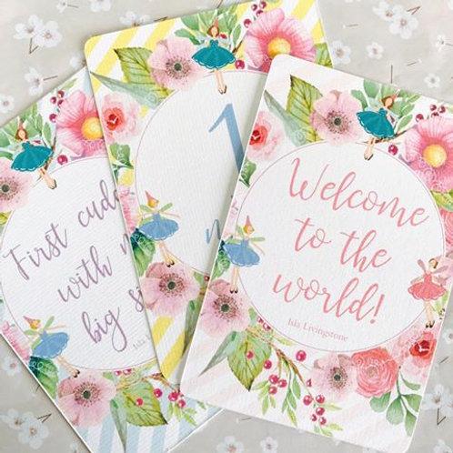 'Flower Fairy' Baby Milestone Cards- individual