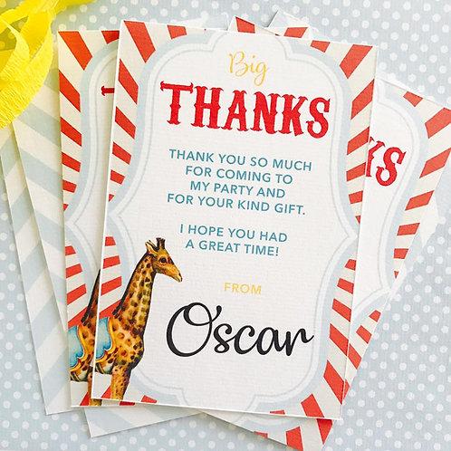 Circus Thank You Cards