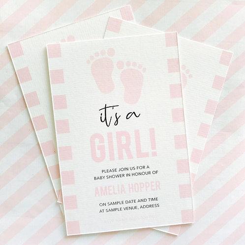 Footprint Baby Shower Invitations (Girl)