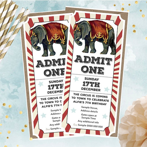 Circus Ticket Party Invitations