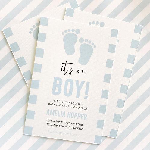Footprint Baby Shower Invitations (Boy)
