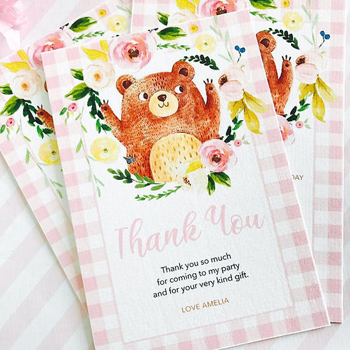 Teddy Bears Picnic Thank You Cards (girl)