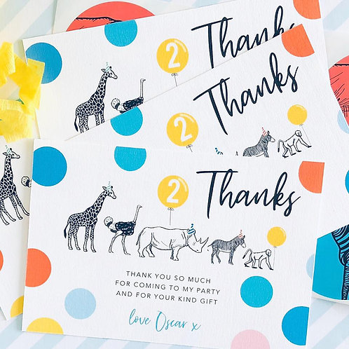 Party Animal Thank You Cards