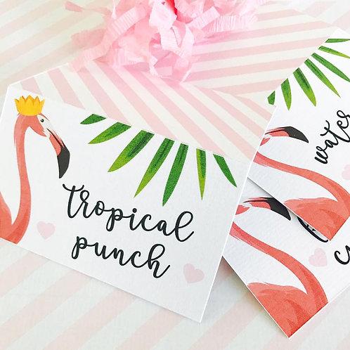 Flamingo Food Tent Cards