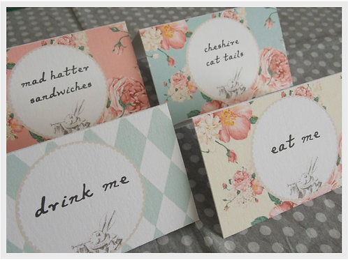 Alice in Wonderland Food Tent Cards