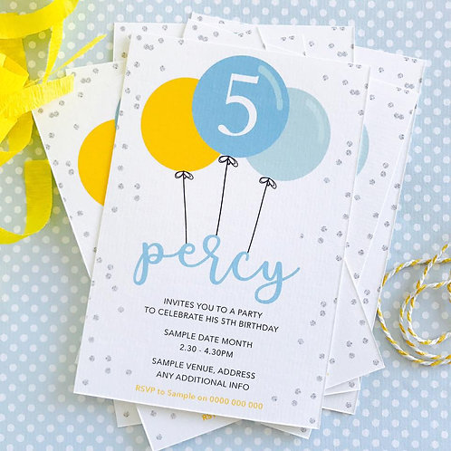 Balloon Party Invitations (boy)