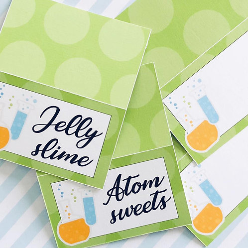 Science Party Food Tent Cards