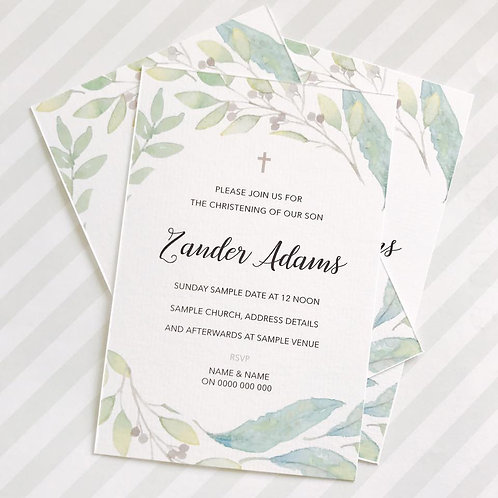 Floral Christening Invitations (Neutral)