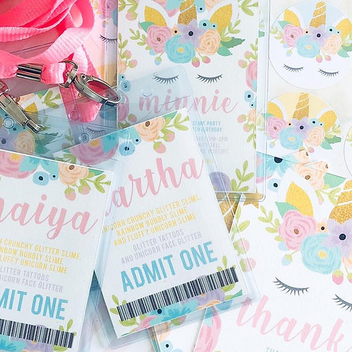 Floral Unicorn Lanyard Invitations