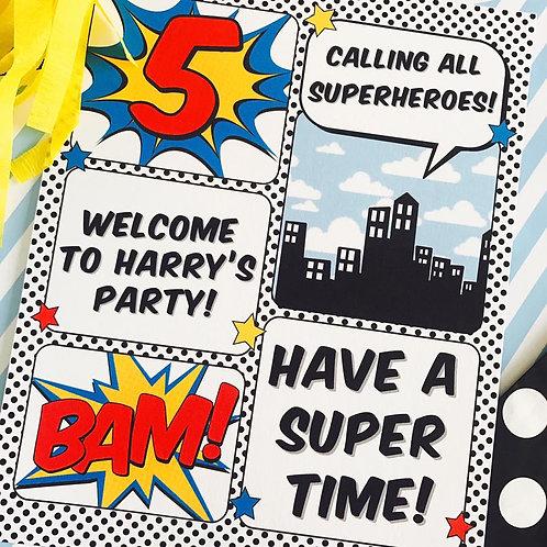 Superhero Party Sign
