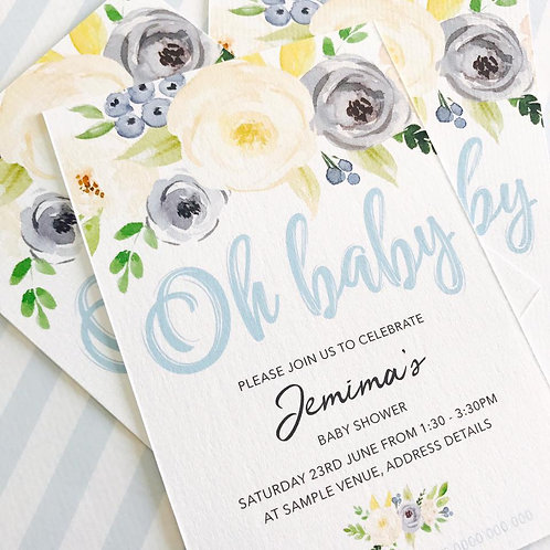 Floral Baby Shower Invitations (boy)